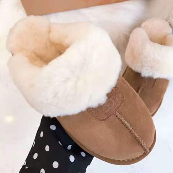 """UGG"" Winter Fashionable Women Casual Wool Slippers Shoes Brown"