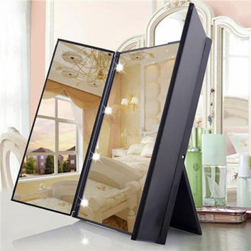 Tri-Fold Illuminated  LED Lighted Vanity Mirror Makeup Wide View Portable Travel Pocket Compact Led Mirror P25