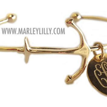 Monogrammed German Silver Gold Tone Anchor Bracelet | Marley Lilly