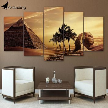 HD Printed 5 Piece Canvas Art Egyptian Pyramids  Sphinx Painting Wall Pictures for Living Room Free Shipping NY-7047A