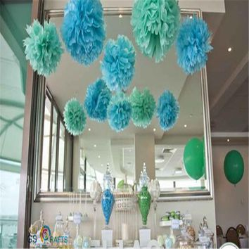 "30pcs 4"" 6"" 8""(10cm 15cm 20cm) Tissue Paper Pom Poms Wedding Party Decor Artificial Paper Flower For Wedding /Garden Decoration"