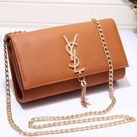 YSL Women Shopping Leather Metal Chain Crossbody Satchel Shoulder Bag H
