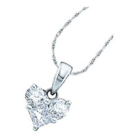 14KT White Gold 0.52CTW ROUND PRINCESS DIAMOND LADIES HEART PENDANT