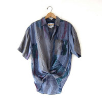 vintage silk shirt. watercolor silk blouse. minimalist short sleeve top. loose fit silk pocket tshirt.