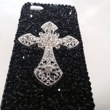 iPhone 5 case, bling phone case, custom phone case, black phone case, iPhone phone case, rhinestone phone case, Unique phone case