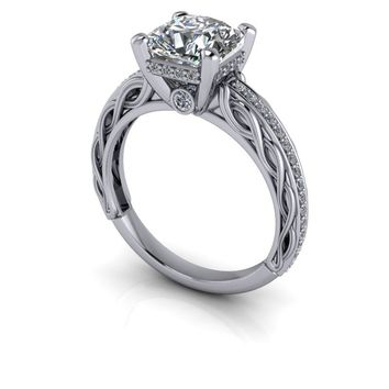 Vintage Style Diamond Engagement Ring Setting - Scroll Decorated Diamond Setting