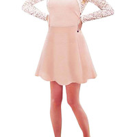 Pink Plus Size Long Sleeve Lace Skater Dress