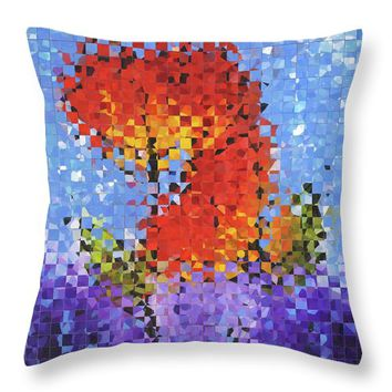 Abstract Red Flowers - Pieces 5 - Sharon Cummings Throw Pillow