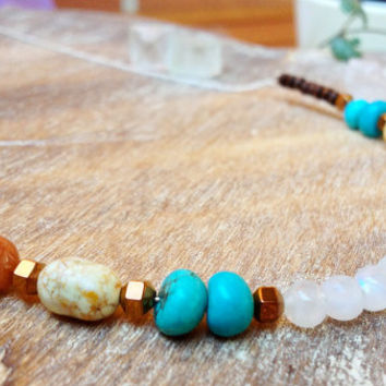 Bohemian Moonstone necklace. Statement moonstone necklace, 925 Sterling silver chain. Magnesite, Indian Agate, Wood, Mineral Stone necklace