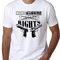 More Gun Rights T-Shirt with Screen Print Design of Two Hand Guns, NRA, Second Amendment, Armed, Fire Arms, Pro Guns, White and Gray Tees