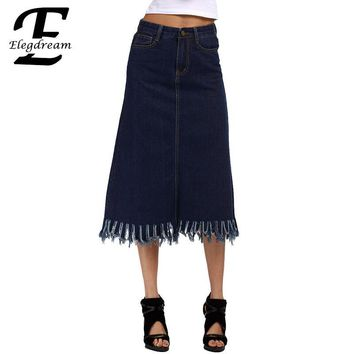 Elegdream S 5XL Plus Size Clothing Fashion Lady Tassel Skirt High Waist Women Denim Pencil Jean Skirts Calf Length Summer Style