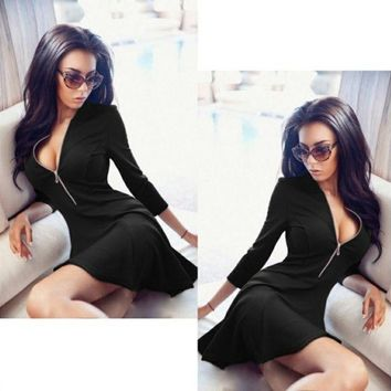 ESBONS Simple Solid Color Exposed Chest Deep V-Neck Middle Sleeve Zip Bodycon Mini Dress