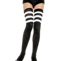 Athletic Thigh High Striped Socks