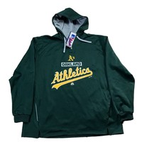 Majestic MLB Authentic Therma Base Oakland A's Green Hooded Sweatshirt Mens Size 2XL