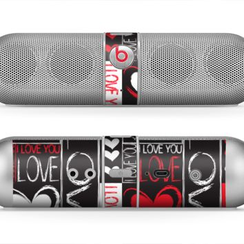 The Sketch Love Heart Collage Skin for the Beats by Dre Pill Bluetooth Speaker
