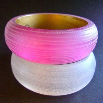 Two 2 Frosted Acrylic Large Bangles, Etched, Magenta and Clear, Vintage