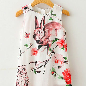 BUNNY DRESS, Easter, Spring, baby, toddler, vintage, owl, feather, boho, boutique, 2 3 4 5 6 7 8 Couture, rabbit, branch, photo, girl floral