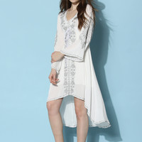 Bali Summer Embroidered Maxi Dress in Off-white  White