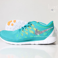 NIKE Free 5.0 2014 running shoes w/Swarovski Crystals - Teal