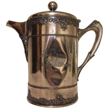 Pre-owned 1894 Engraved Silver Plated Water Pitcher Trophy