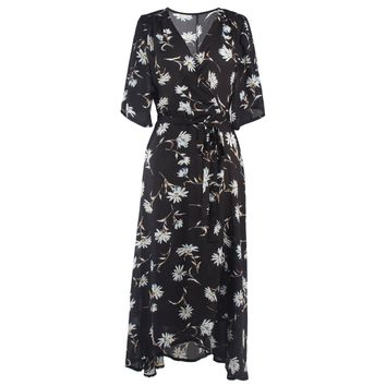Chicloth Whispering Daisy V-neck Maxi Dress