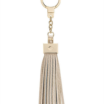 Kate Spade Leather Tassel Keychain Gold ONE