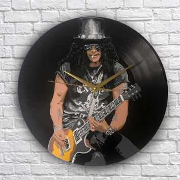 Slash  painted vinyl record clock, Gift for music lover, Guns N' Roses