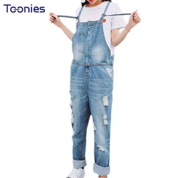 Women Denim Jumpsuits Jeans Overalls 2017 Spring New Type Boyfriend Style Hole Denim Jeans with Suspender S M L Hot Sale Fashion