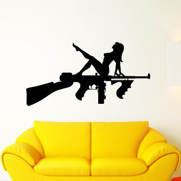 Vinyl Wall Decal Assault Rifle Weapons Gun Sexy Naked Girl Stickers (2625ig)
