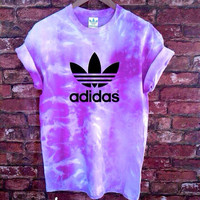 Unisex Authentic Adidas Originals Tie Dye purple T-shirt