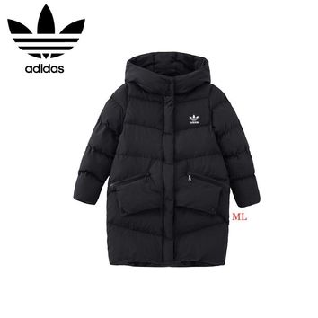 """Adidas"" Women Fashion Simple Solid Color Pocket Hoodie Long Sleeve Cotton-padded Clothes Coat"