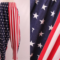 Vintage 80s 90s - American Flag Stars & Stripes Red White Blue - Hipster Hammer Pants - Muscle Beach - Work Out Gym