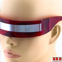 Futuristic Robocop Cyclops Outter Space Robot RAVE Shield Sunglasses Mirrored