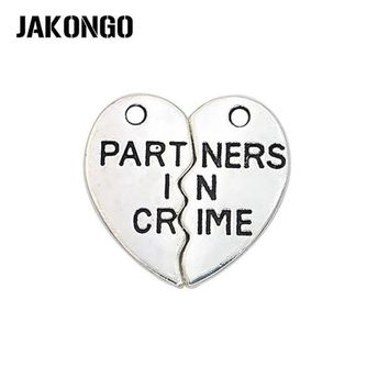 ONETOW JAKONGO 10sets/lot Antique Silver Partners in Crime Heart Charms Pendants for Jewelry Making DIY Handmade Craft 19*10mm