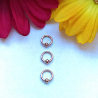 "Tiny Rose Gold 16g 1/4"" hoop captive bead ring body jewelry ear eyebrow rook nose smiley helix lip nipple"