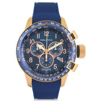Nautica Designer Men's Watches Gold Tone Stainless Steel Case and Blue Rubber Strap Men's Watch