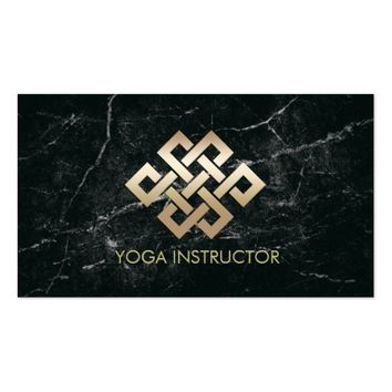 Yoga Instructor Gold Eternity Knot & Black Marble Business Card