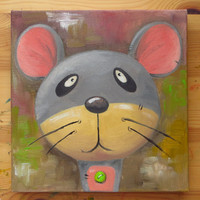 Mouse Portrait, Original Art, Animals, Oil on canvas, MikiMayo