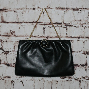 60s Frame Clutch Purse Black Vegan Leather Gold Chain 50s Pin Up Rockabilly Mod Handbag Bag