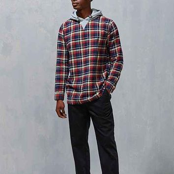 Kill City Blocked Flannel Popover Drop-Tail Hooded Shirt