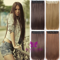 "New Arrival Women Hair Extensions Natural Straight 24"" 60cm Synthetic Hair Extention 5 Clips Hairpiece False Hair Styling B15"