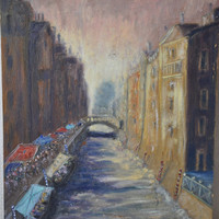 Vintage Impressionist Style Oil Painting of Venice Italy, Impressionism, Gondola Boats, Oil on Board, Vintage art, Venice Canals Italy