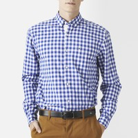 Long Sleeve Button Down Large Gingham Poplin Shirt