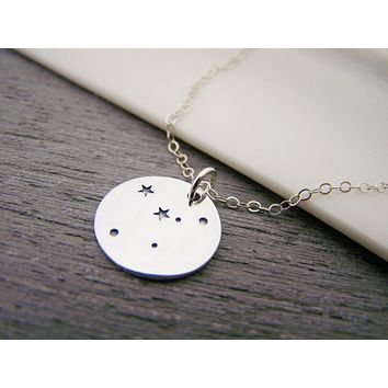 Dainty Sterling Silver Zodiac Cancer Constellation Necklace / Gift for Her