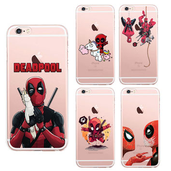 i5 / i6 / i7 Anime Marvel Soldier Deadpool Fundas Phone Case For iPhone 5 5S SE 6 6S 7 Plus 6SPlus Unicorn Silicone Back Cover