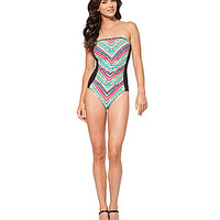 Anne Cole Tribal Stripe Bandeau One Piece - Multi