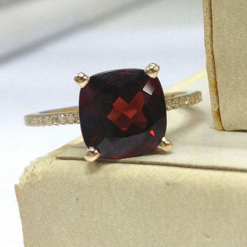 Garnet Engagement Ring 14K Yellow Gold!Diamond Wedding Bridal Ring,8x8mm Cushion Cut VS Natural Red Garnet,Fine Ring,Can Make Matching Band