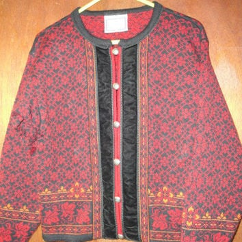 Womens Dressy Vintage Dale of Norway Wool Cardigan Sweater M Medium Fall Autumn Colors