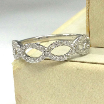 Diamond Wedding Ring 14K White Gold,Loop Curved,Flower Floral Round Cut Diamond, Matching Band,Anniversary Fine Ring,Stackable,Fashion New