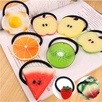 New Summer Style Many Patterns Fruits Slice Hair Accessories for Girls Kids Women Elastic Hair Bands Rubber Bands Headwear